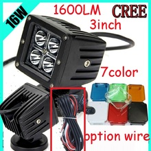 "Only 28USD/PCS,3"" 16W 1600LM 10~30V,6500K,LED working light;Free ship!Optional wire;motorcycle light,forklift,tractor light"