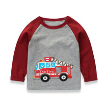2017 Autumn Baby Boys Cartoon Car T-shirt Cotton Long Sleeved Tees for Boys 1-10 Years Children's Clothing Wholesale Retail