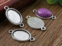 10pcs 13x18mm Inner Size Antique Silver Simple Style Cameo Cabochon Base Setting Charms Pendant necklace findings (D4-27)(China)