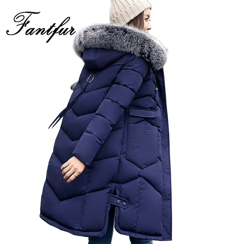 2017 New Thicken Warm Jacket Female Plus Size 3XL Outerwear Womens Parka With Fur Hood Mujer Korean Winter Long SleeveÎäåæäà è àêñåññóàðû<br><br>