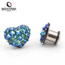 BODY PUNK 1 Pair Blue Purple cz Stud Heart Plugs Stainless Steel Ear Plug Gauges Tunnel Body Piercing Jewelry 6-16mm PLG 004(China)