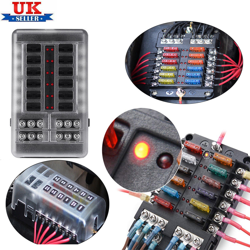 12V//32V 12 Way Blade Fuse Box Holder LED Warning Lights Kit For Car Boat Marine