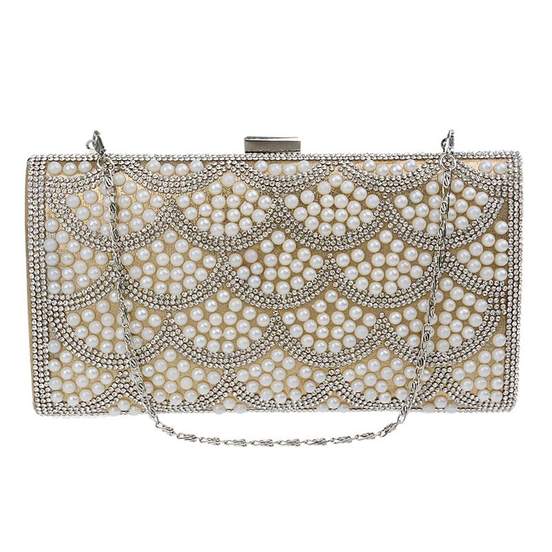 Messenger beaded women bags clutch purse handbags leather pearl evening bags for wedding/party/dinner<br><br>Aliexpress