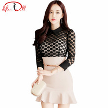 2017 Autumn Full Sleeve Dots Lace Mesh Patchwork Sexy Slim High Waist Bodycon Mini Dresses Women Party Cloth One Piece Vestidos(China)