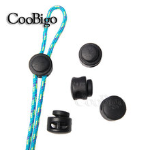 25pcs Pack Plastic Cord Lock Clip Clamp 2 hole Toggle Stopper 2mm Rope Garment Paracord Shoes #FLS029-B