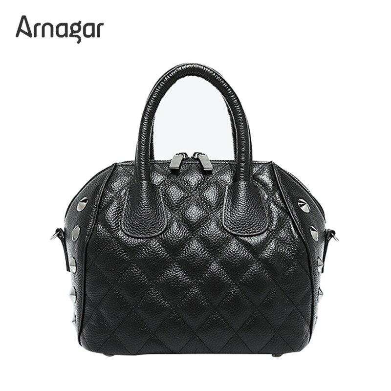 Arnagar Genuine Leather Women Handbags 2017 Fashion Tote Bag Rivet Handbag Women Messenger bags ladies leather bags sac a dos<br><br>Aliexpress