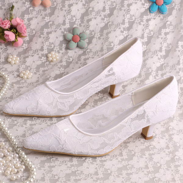 New Model Brand Shoes White Lace Evening Shoes Ladies Fancy Pointy toe Wedding Shoe <br>