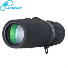 AOMEKIE Mini Monocular 10X25 Rubber Armoured Durable Outdoor Bird Watching Telescope HD Optical Glass Prism Multi-coated Lens(China)