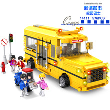 City School Bus 576Pcs Cogo Blocks Baby Educational Toys Sluban City Series Super Huge Diy Model Toys Children Best Gifts 14111(China)