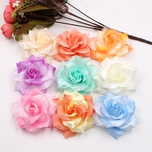 10pcs Large Silk 2 Color Fire Rose Artificial Flower Head For Wedding Decoration DIY Garland Decorative Floristry Fake Flowers(China)