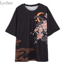 Lychee Japanese Harajuku Summer Women T Shirt Carp Moon Printed Casual Short Sleeve T-shirt Tee Top(China)