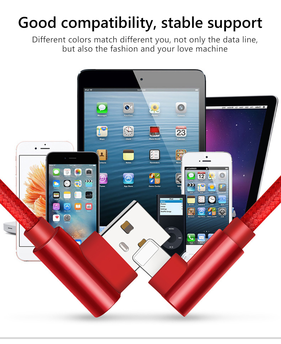 !ACCEZZ USB Charging Data Cable Lighting For Apple iphone X 8 7 6 6S Plus XR XS MAX 5C 5 SE 90 Degree Phone Charger Cord Line (13)