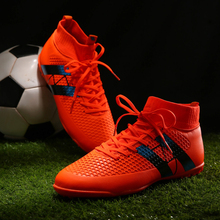 New Men Football Boots Futsal TF High Ankle Soccer Shoes Hard wearing Adult Professional Indoor Sock Cleats Sports Trainer(China)