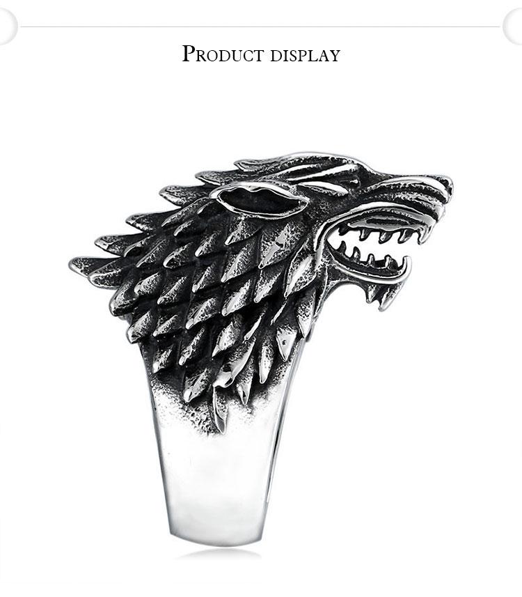 แหวนผู้ชายเท่ห์ๆ Code 042 แหวนหมาป่า สแตนเลส แกะลายคมๆสวยๆ8