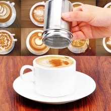 Eco-friendly Coffee Stainless Chocolate Shaker Cocoa Flour Icing Sugar Powder Sifter Lid Shaker Kitchen Tools Free Shipping