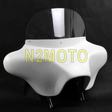 Motorcycle White Fiberglass Detachable Batwing Fairing 6x9 White Speaker Front Fairing Cowl for Harley 1994-2013(China)