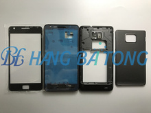 Full Housing cover for samsung Galaxy S2 I9100 Middle Bezel Frame+backplate +battery back case +front glass lens