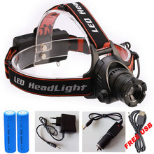 LED CREE XML T6 Headlamp 8000Lumens Zoomable Headlight Waterproof Head Flash Light Lamp Torch+DC/Car Charger+18650 Battery(China)