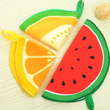 Creative Cartoon Cute Fruit Orange Kiwifruit Melon Super Absorbent Kitchen Scouring Pad Cleaning Cloths Hanging Hands Towel AR