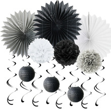 (Black,Grey,White) Paper Decoration Set Swirls Paper Fans POMs for Birthday Wedding Themed Party Room Space Decor Party Supplies