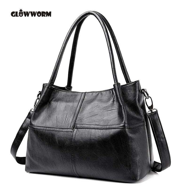 GLOWWORM Fashion Ladies Hand Bag Womens Genuine Leather Handbag Black Leather Tote Bag Bolsas femininas Female Shoulder Bag<br>