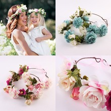 2PCS Romantic Boho Style Garland,Highpot Parent-Child Hairband Crown Colorful Artificial Bridal Wreath Beach Vacation Dress up