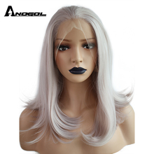 Anogol Ash Gray High Temperature Fiber Hair Medium Length Natural Body Wave Bob Synthetic Lace Front Wig For White Women(China)