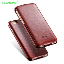 FLOVEME For iPhone 7 6 6S Plus Vertical Flip Leather Case For Apple iPhone 6 7 6S Plus Coque Smooth Skin with Logo Vintage Cover(China)