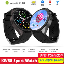 "KW88 Better than KW18 3G WIFI 1.39"" GPS Camera Smartwatch Cell Phone All-in-One Heart Rate Monitor android 5.1 OS Smart watch(China)"