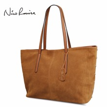 Nico Louise Women Real Split Suede Leather Tote Bag Rivet Leisure Large Top-handle Bags Lady Casual Crossbody Shoulder Handbag(China)