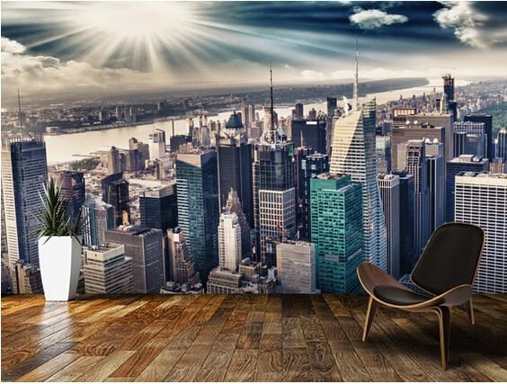 Custom photo wallpaper,the Manhattan Sharon night landscape murals for apartments, residential, office wall waterproof wallpaper<br>