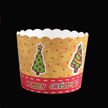 Big Size 6x5.3x7CM 50ps/bag New Pine Tree design Merry Xmas Christmas Paper baking cake cup