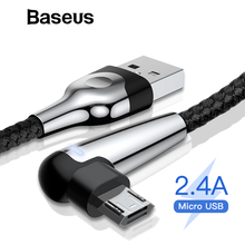 Baseus 2.4A Micro USB Cable Fast Charging LED Lighting Cord Xiaomi Redmi Note 4 5 Pro 90 Degree Charging Wire USB Data Cable