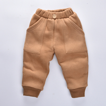Boys Winter Pants 2017 Kids pants Cashmere girls pants warm full lengthTrousers for baby Boys harems pant(China)
