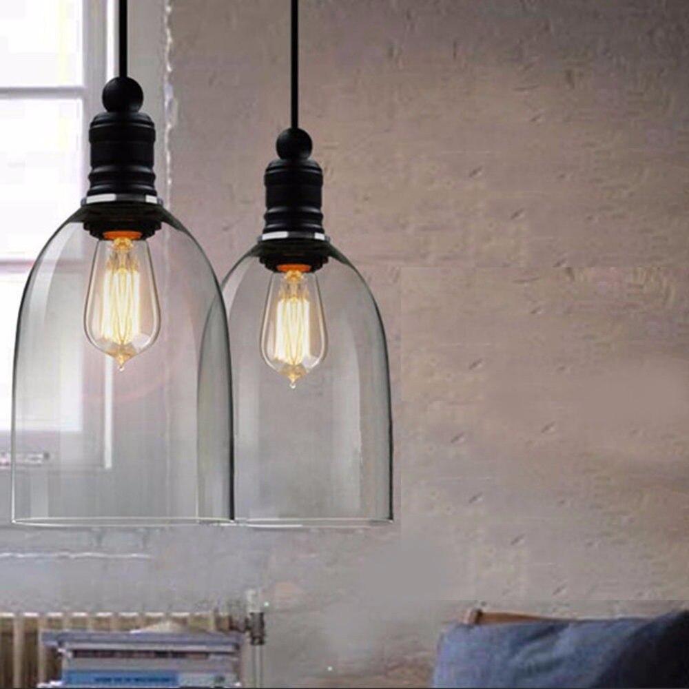 Modern Glass Pendant Lights Industrial Edison Bulb Pendant Lamp Bar Restaurant Light Transparent Glass Retro Lamparas<br>