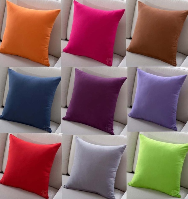 Hot Solid Color Sofa Cushion Covers 22 Styles Pink Purple Orange Throw Pillow Home