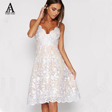 Buy women flower embroidery lace fabric sexy v neck midi dress 2017 Autumn strap dress Women party dress evening sundress vestidos for $26.66 in AliExpress store