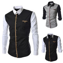 New Mens Shirt Long Seeve 2017 Autumn Fashion Mens Sim Fit Dress Shirts Brand Design Patchwork Chemise Homme Camisas Hombre