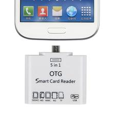 1PC 5 in 1 OTG Micro USB MS MMC TF SD Card Reader Memory Card Connection To Smartphone USB flash drive