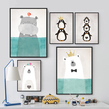 Modern Artwork Watercolor Cute Cartoon Animals Crown Penguin Bear Blue Art Canvas Painting For Kid's Room decor Great kid's Gift