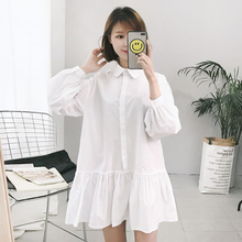 super cute puff sleeve white blouse long ruffles hem shirt women tops kawaii chemise femme chemisier blusa blanca mujer camisa