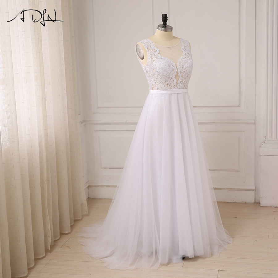 ADLN Plus Size White Wedding Dresses New Sexy Scoop Tulle Appliques Beach Boho Bride Dress Long Ivory Wedding Gowns Custom 9