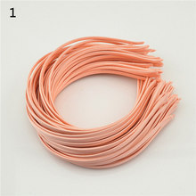 Women Little Girls Hair Accessory 5mm  Satin Covered Metal Headband Various Solid Colors 6pcs/package