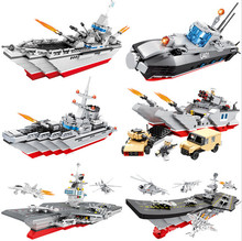 Hsanhe Warship Series Aircraft Carrier Model Building Blocks Missile Destroyer Nuclear Submarine Bricks Styles Naval Ship