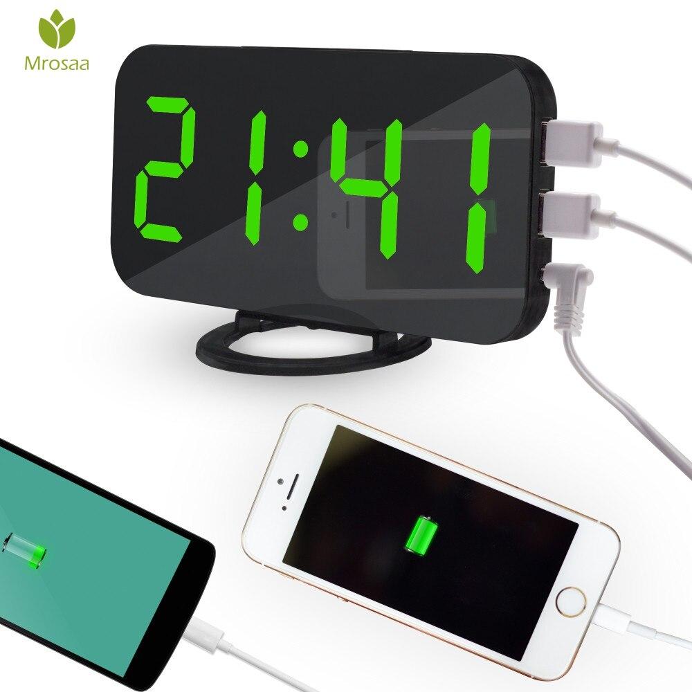 Mrosaa Electronic LED Digital Alarm Clocks Desktop Decoration Auto-Brightness-Adjust Snooze Table Clock with Dual USB Hot sale