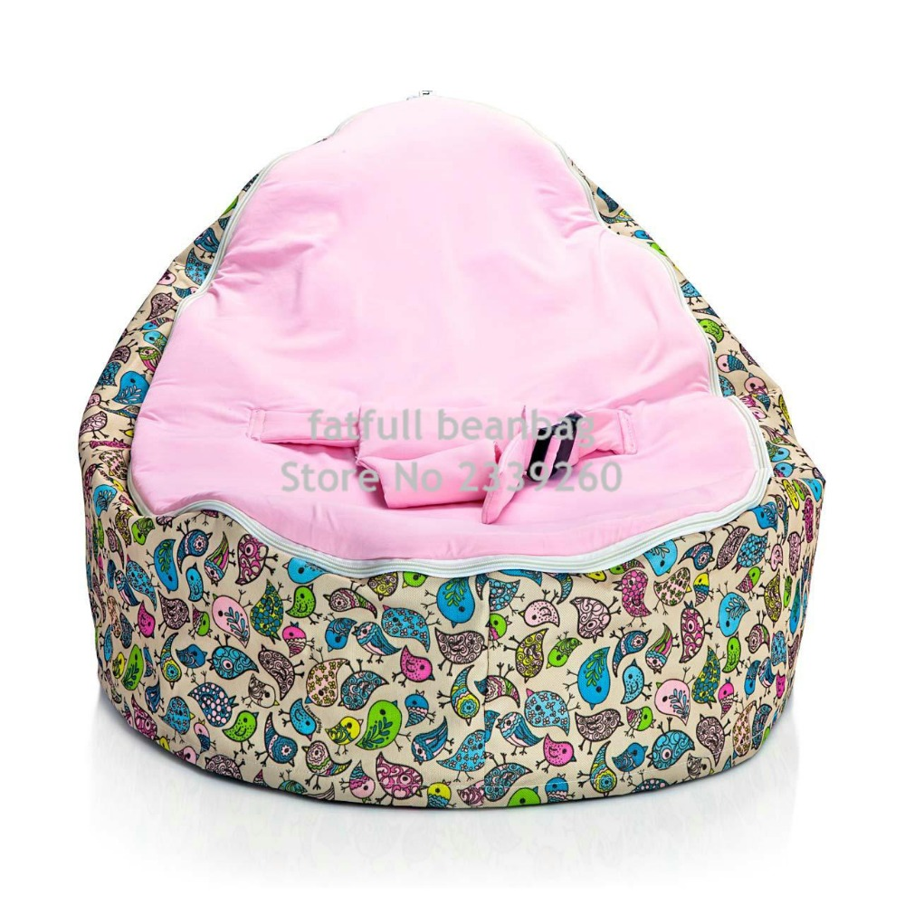 COVER ONLY NO FILLINGS PINK Bird Pattern Baby Bean Bag Toddlers Beanbag Chair