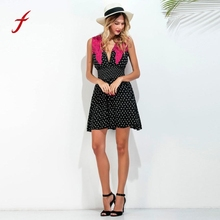 Ladies's Elegant Black dress fashion Deep V-Neck Pink lace Dresses Casual Beach party Dot Print Backless mini Dress 2017(China)