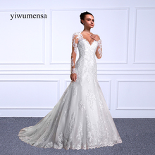 Buy yiwumensa vestido de casamento Mermaid wedding dresses 2018 Full Long Sleeves Beads Wedding dresses vestido de noiva Bridal gown for $164.25 in AliExpress store