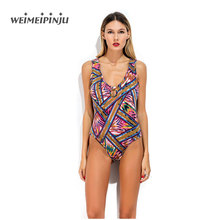 Skinny Bodysuit Summer Beach Sporting Playsuit Spaghetti Strap Print Jumpsuits Fitness Overalls All-Match Leotard Women Clothing