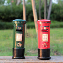 Creative Resin Mailbox Piggy Bank Retro red green Post box home decoration furnishing articles Gifts Crafts(China)